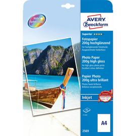 Fotopapier Inkjet Superior A4 200g weiß high-glossy Zweckform 2569 (PACK=25 BLATT) Produktbild