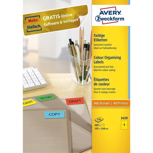 Etiketten Inkjet+Laser+Kopier 105x148mm auf A4 Bögen gelb Zweckform 3459 (PACK=400 STÜCK) Produktbild Additional View 1 L
