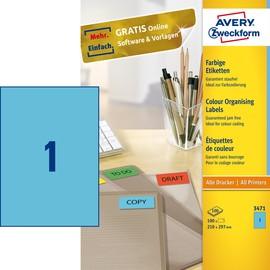 Etiketten Inkjet+Laser+Kopier 210x297mm auf A4 Bögen blau Zweckform 3471 (PACK=100 STÜCK) Produktbild
