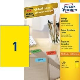 Etiketten Inkjet+Laser+Kopier 210x297mm auf A4 Bögen gelb Zweckform 3473 (PACK=100 STÜCK) Produktbild
