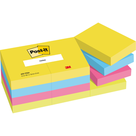 Haftnotizen Post-it Neon Rainbow 51x38mm tutti frutti Papier 3M 653TFEN (PACK=12x 100 BLATT) Produktbild