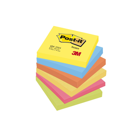 Haftnotizen Post-it Notes Neon Rainbow 76x76mm tutti frutti Papier 3M 654TFEN (PACK=6x 100 BLATT) Produktbild