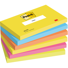 Haftnotizen Post-it Neon Rainbow 127x76mm tutti frutti Papier 3M 655TFEN (PACK= 6 x 100 BLATT) Produktbild