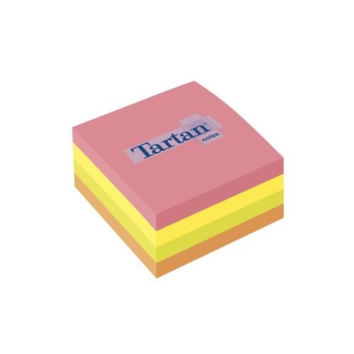 Haftnotizen Tartan Notes Würfel 76x76mm neonfarben sortiert Papier 3M 7676C-N (ST=400 BLATT) Produktbild Front View L