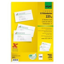 Visitenkarten Inkjet+Laser+Kopier 85x55mm 225g weiß glatte Kanten Sigel LP797 (PACK=1000 STÜCK) Produktbild