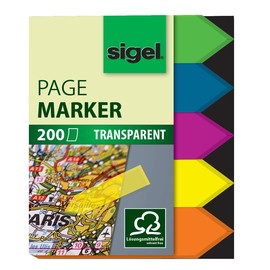 Haftmarker Film Pfeile 45x12mm 5 Leuchtfarben transparent Sigel HN613 (PACK=5x 40 STÜCK) Produktbild