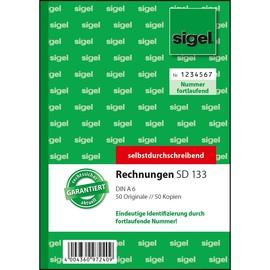 Rechnungsbuch A6 hoch 2x50Blatt mit fortlaufender Nummerierung selbstdurchschreibend Sigel SD133 Produktbild