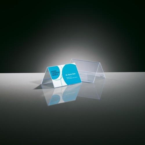 Tischaufsteller Dachform für beidseitige Präsentation 100x60mm glasklar Hartplastik Sigel TA136 (PACK=10 STÜCK) Produktbild Additional View 2 L