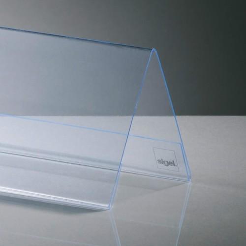Tischaufsteller Dachform für beidseitige Präsentation 100x60mm glasklar Hartplastik Sigel TA136 (PACK=10 STÜCK) Produktbild