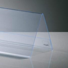 Tischaufsteller Dachform für beidseitige Präsentation 240x90mm glasklar Hartplastik Sigel TA130 (PACK=5 STÜCK) Produktbild