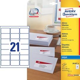 Adress-Etiketten Inkjet 63,5x38,1mm auf A4 Bögen weiß schnelltrocknend Zweckform J8160-25 (PACK=525 STÜCK) Produktbild