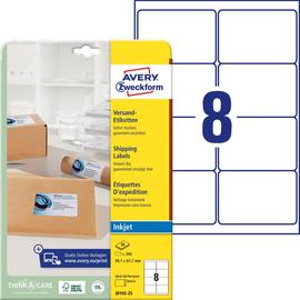 Adress-Etiketten Inkjet 99,1x67,7mm auf A4 Bögen weiß schnelltrocknend Zweckform J8165-25 (PACK=200 STÜCK) Produktbild