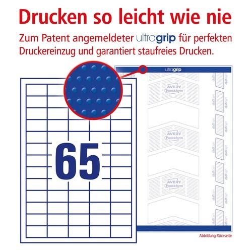 Etiketten Inkjet+Laser+Kopier 38x21,2mm auf A4 Bögen weiß permanent Zweckform 6121 (PACK=1950 STÜCK) Produktbild Additional View 3 L