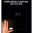 Etiketten Inkjet+Laser+Kopier 38x21,2mm auf A4 Bögen weiß permanent Zweckform 6121 (PACK=1950 STÜCK) Produktbild Additional View 6 S