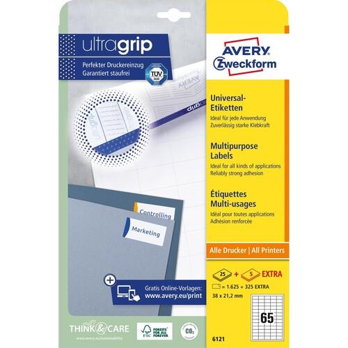 Etiketten Inkjet+Laser+Kopier 38x21,2mm auf A4 Bögen weiß permanent Zweckform 6121 (PACK=1950 STÜCK) Produktbild Additional View 1 L