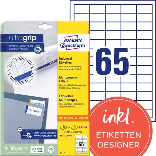 Etiketten Inkjet+Laser+Kopier 38x21,2mm auf A4 Bögen weiß permanent Zweckform 6121 (PACK=1950 STÜCK) Produktbild