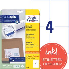 Etiketten Inkjet+Laser+Kopier 105x148mm auf A4 Bögen weiß Zweckform 6120 (PACK=120 STÜCK) Produktbild
