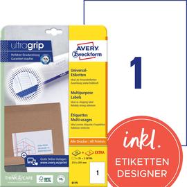 Etiketten Inkjet+Laser+Kopier 210x297mm auf A4 Bögen weiß Zweckform 6119 (PACK=30 STÜCK) Produktbild