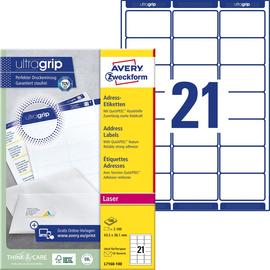 Adress-Etiketten Laser+Kopier 63,5x38,1mm auf A4 Bögen weiß Zweckform L7160-100 (PACK=2100 STÜCK) Produktbild