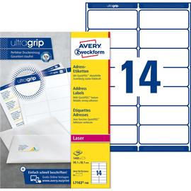 Adress-Etiketten Laser+Kopier 99,1x38,1mm auf A4 Bögen weiß Zweckform L7163-100 (PACK=1400 STÜCK) Produktbild