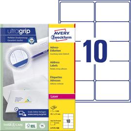 Adress-Etiketten Laser+Kopier 99,1x57mm auf A4 Bögen weiß Zweckform L7173-100 (PACK=1000 STÜCK) Produktbild