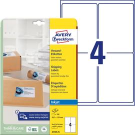 Adress-Etiketten Inkjet 99,1x139mm auf A4 Bögen weiß schnelltrocknend Zweckform J8169-25 (PACK=100 STÜCK) Produktbild