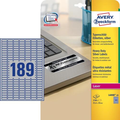 Typenschild-Etiketten Laser+Kopier 25,4x10mm auf A4 Bögen silber Polyester Zweckform L6008-20 (PACK=3780 STÜCK) Produktbild