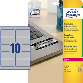 Typenschild-Etiketten Laser+Kopier 96x50,8mm auf A4 Bögen silber Polyester Zweckform L6012-20 (PACK=200 STÜCK) Produktbild