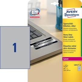 Typenschild-Etiketten Laser+Kopier 210x297mm auf A4 Bögen silber Polyester Zweckform L6013-20 (PACK=20 STÜCK) Produktbild