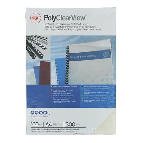 Einbanddeckel PolyClearView A4 300µ transparent matt GBC IB386848 (PACK=100 STÜCK) Produktbild Front View L