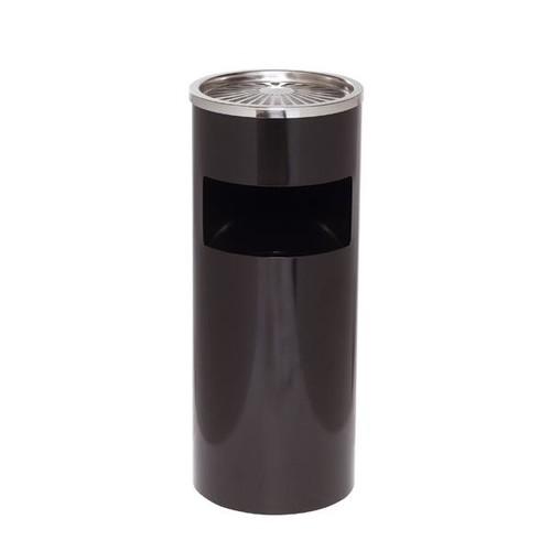 Standascher mit Abfallsammler ø 25cm Höhe 61cm schwarz Stahlblech Alco 2940-11 Produktbild Front View L