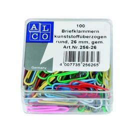 Büroklammern 26mm farbig sortiert Kunststoff runde Form ALCO 256-26 (SCH=100 STÜCK) Produktbild