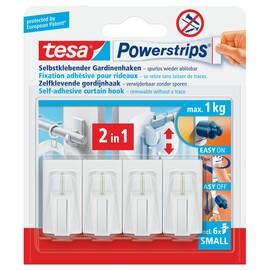Powerstrips Gardinen-Haken bis 1000g Haftkraft weiß Tesa 58034-00000-01 (PACK=4 STÜCK) Produktbild