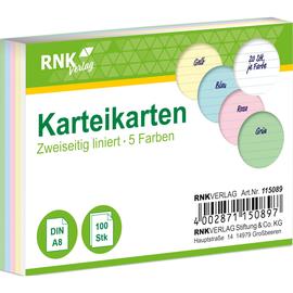 Karteikarten A8 liniert farbig sortiert holzfrei RNK 11508 (PACK=100 STÜCK) Produktbild