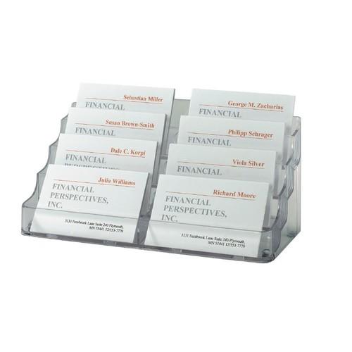Visitenkarten-Aufsteller mit 8Fächern 94x85mm für 560Karten glasklar Hartplastik Sigel VA138 Produktbild