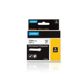 Schriftband IND Rhino 12mm/5,5m schwarz auf weiß Polyester Dymo 18483 (ST=5,5 METER) Produktbild