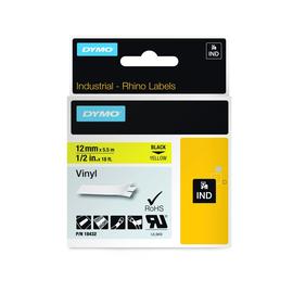 Schriftband IND Rhino 12mm/5,5m schwarz auf gelb Vinyl Dymo 18432 (ST=5,5 METER) Produktbild