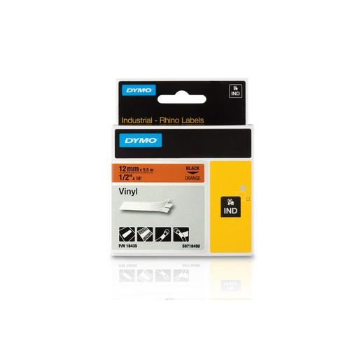 Schriftband IND Rhino 12mm/5,5m schwarz auf orange Vinyl Dymo 18435 (ST=5,5 METER) Produktbild Front View L