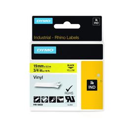 Schriftband IND Rhino 19mm/5,5m schwarz auf gelb Vinyl Dymo 18433 (ST=5,5 METER) Produktbild