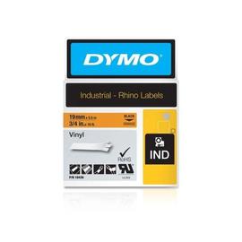 Schriftband IND Rhino 19mm/5,5m schwarz auf orange Vinyl Dymo 18436 (ST=5,5 METER) Produktbild