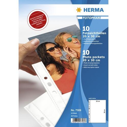Fotohüllen Fotophan A4 für 20x30cm hoch weiß Kunststoff Herma 7589 (PACK=10 STÜCK) Produktbild Front View L