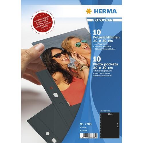 Fotohüllen Fotophan A4 für 20x30cm hoch schwarz Kunststoff Herma 7788 (PACK=10 STÜCK) Produktbild Front View L