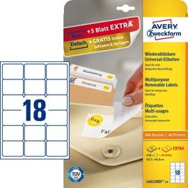 Etiketten Inkjet+Laser+Kopier 63,5x46,6mm auf A4 Bögen weiß wiederablösbar Zweckform L6025REV-25 (PACK=540 STÜCK) Produktbild