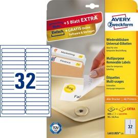 Etiketten Inkjet+Laser+Kopier 96,5x16,9mm auf A4 Bögen weiß wiederablösbar Zweckform L6031REV-25 (PACK=960 STÜCK) Produktbild