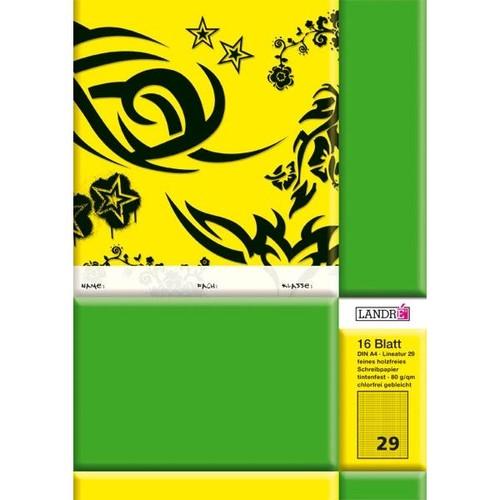 Heft starker Deckel A4 Lineatur 29 rautiert Rand links+recht 16Blatt 80g holzfrei weiß Landré 100050043 Produktbild Front View L