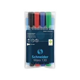Permanentmarker Maxx 130 4er Etui 1-3mm Rundspitze sortiert Schneider 113094 (SET=4 STÜCK) Produktbild
