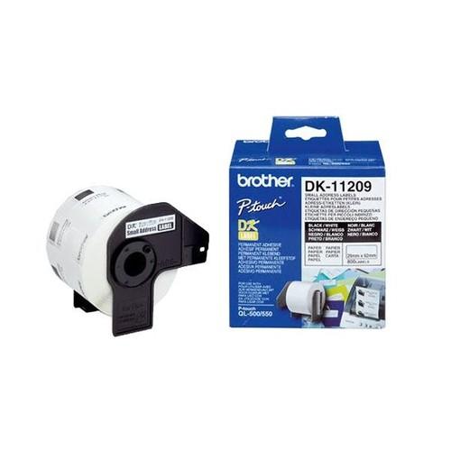 Einzeletikettenrollen Adress-Etiketten 29x62mm Thermopapier Brother DK-11209 (PACK=800 STÜCK) Produktbild
