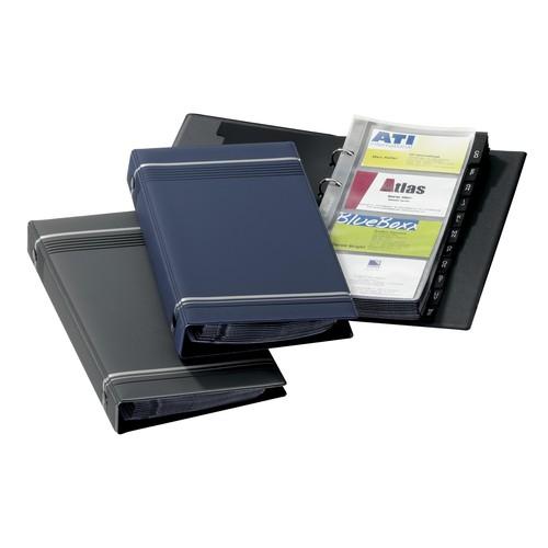 Visitenkartenringbuch mit Register Visifix erweiterbar 145x255mm dunkelblau Durable 2385-07 Produktbild Additional View 1 L