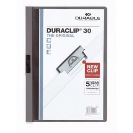 Klemmmappe Duraclip30 A4 bis 30Blatt anthrazit/grau Hartfolie Durable 2200-57 Produktbild