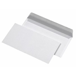 Briefumschlag ohne Fenster 125x229mm selbstklebend 75g weiß (PACK=25 STÜCK) Produktbild